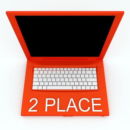3D blank laptop computer with 2 place word on it Stock Photo - 9921071