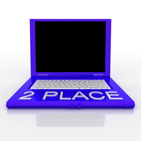 3D blank laptop computer with 2 place word on it Stock Photo - 9921067