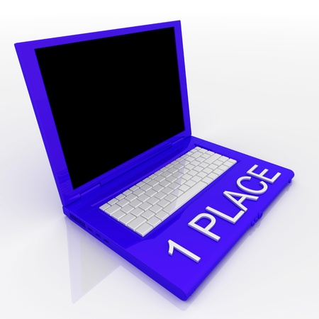 3D blank laptop computer with 1 place word on it Stock Photo - 9921090