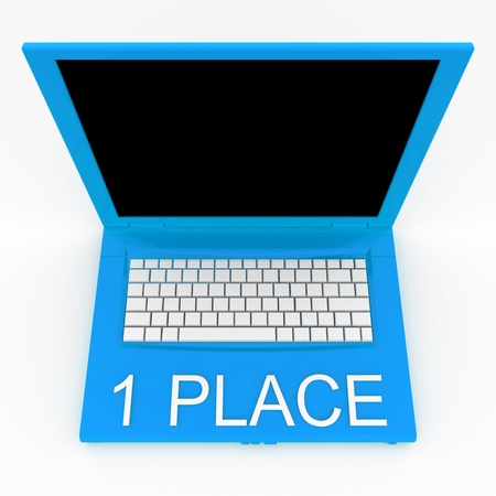 1 place: 3D blank laptop computer with 1 place word on it
