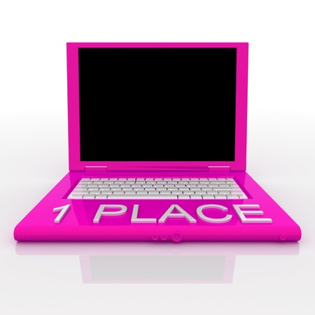 3D blank laptop computer with 1 place word on it Stock Photo - 9921086
