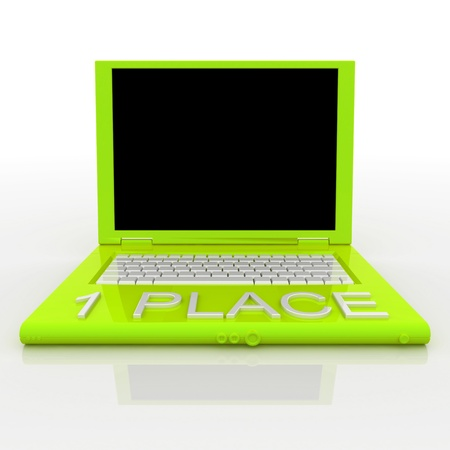 3D blank laptop computer with 1 place word on it Stock Photo - 9921087
