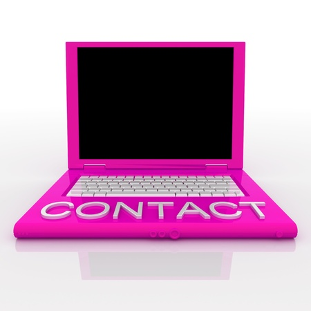 3D blank laptop computer with contact word on it Stock Photo - 9921140
