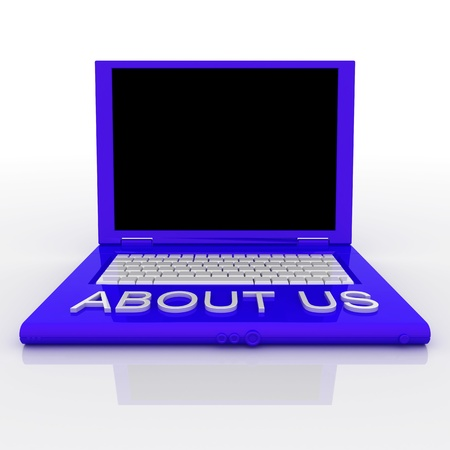 3D blank laptop computer with about us word on it photo