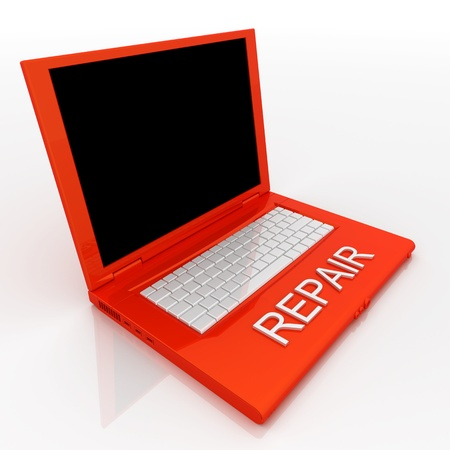 3D blank laptop computer with repair word on it Stock Photo - 9980102