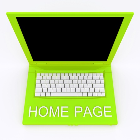 3D blank laptop computer with home page word on it Stock Photo - 9980100