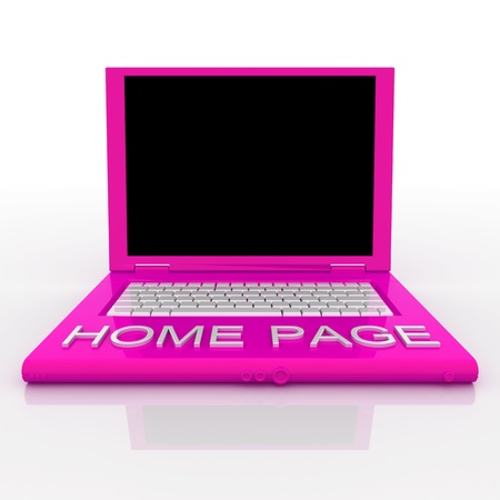 3D blank laptop computer with home page word on it Stock Photo - 9980081