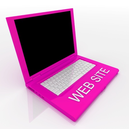 techie: 3D blank laptop computer with web site word on it Stock Photo