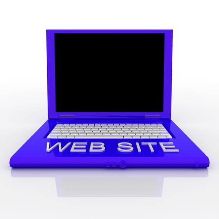 3D blank laptop computer with web site word on it Stock Photo - 9980138