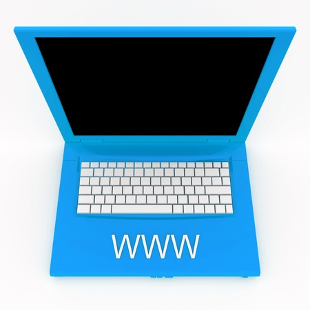 techie: 3D blank laptop computer with www word on it Stock Photo