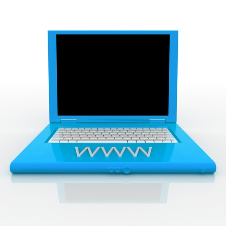 3D blank laptop computer with www word on it Stock Photo - 9980090