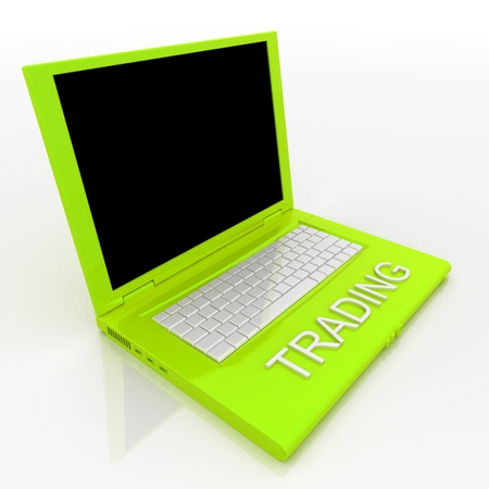 3D blank laptop computer with trading word on it Stock Photo - 9980103