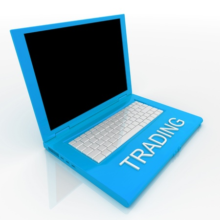 3D blank laptop computer with trading word on it Stock Photo - 9980209