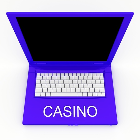 3D blank laptop computer with casino word on it Stock Photo - 9980146