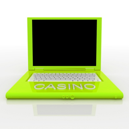 3D blank laptop computer with casino word on it Stock Photo - 9980129