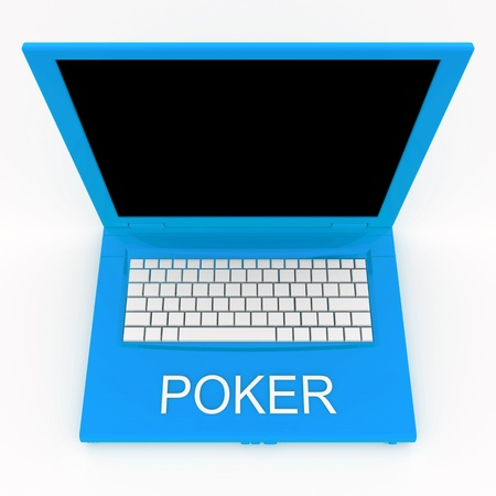3D blank laptop computer with poker word on it Stock Photo - 9980202