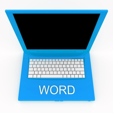 3D blank laptop computer with word on it Stock Photo - 9980201