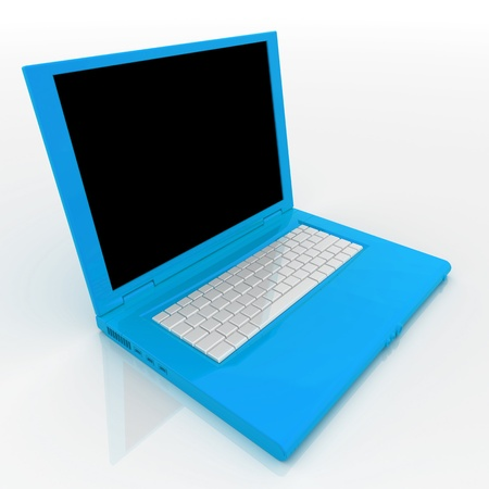 techie: 3D blank open laptop computer isolated over white Stock Photo