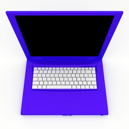 3D blank open laptop computer isolated over white Stock Photo - 9980134