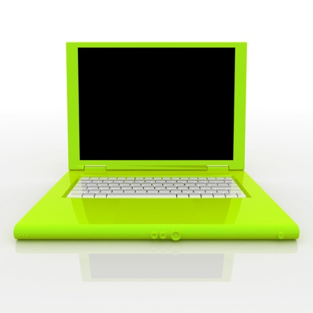 3D blank open laptop computer isolated over white Stock Photo - 9980119