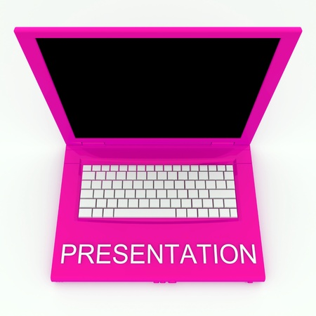 techie: 3D blank laptop computer with presentation word on it