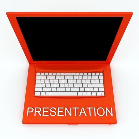 3D blank laptop computer with presentation word on it Stock Photo - 9980155