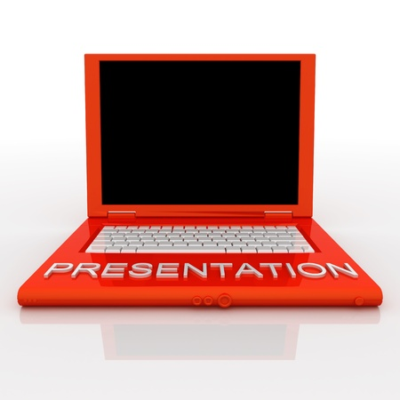 3D blank laptop computer with presentation word on it Stock Photo - 9980125