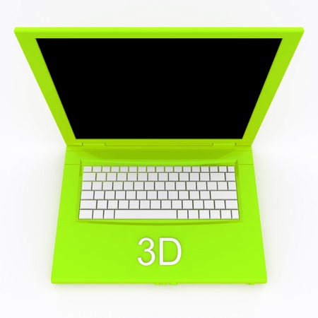 techie: 3D blank laptop computer with 3d word on it Stock Photo