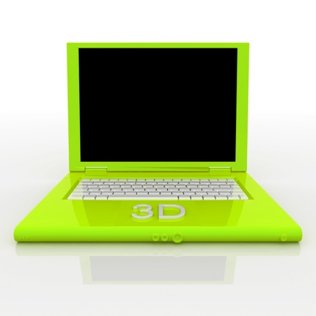 3D blank laptop computer with 3d word on it Stock Photo - 9980245