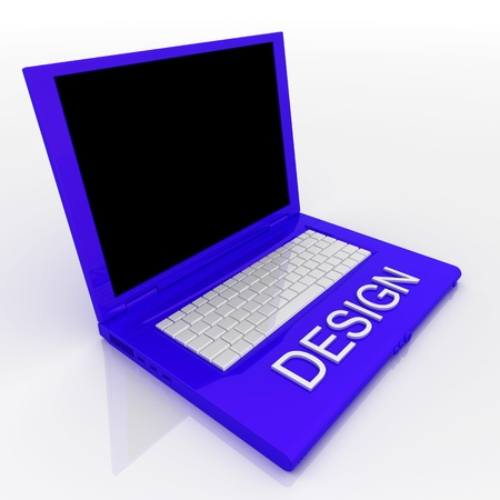 3D blank laptop computer with design word on it Stock Photo - 9980252