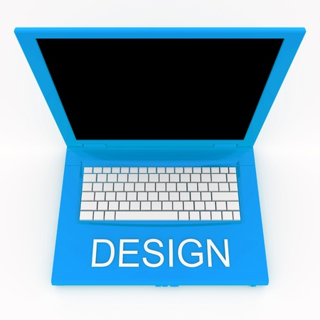 3D blank laptop computer with design word on it Stock Photo - 9980269