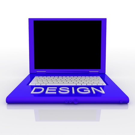 techie: 3D blank laptop computer with design word on it Stock Photo