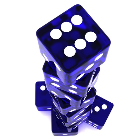 rolling dice: 3D Rendered rolling dice on white background Stock Photo