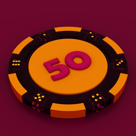 Colorful casino chips isolated over white background photo
