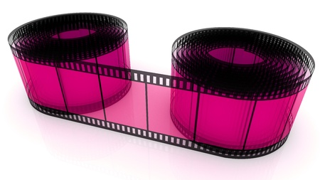 3D film strip roll isolated over white photo