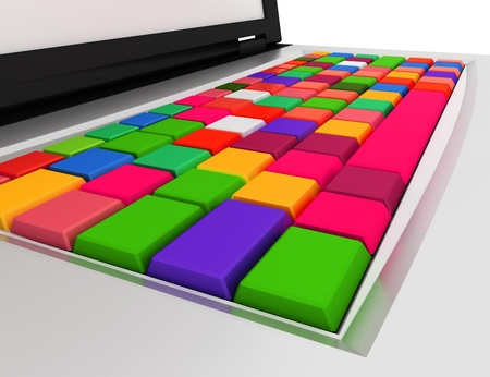 Abstract cloud of color cubes. 3d render. photo