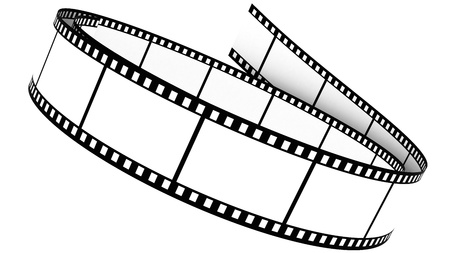 3D Blank film on white background with photo