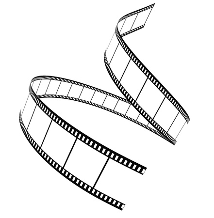 3D film strip roll isolated over white