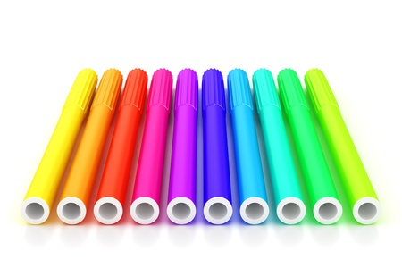Group of bright color markers on white background Stock Photo - 12830853
