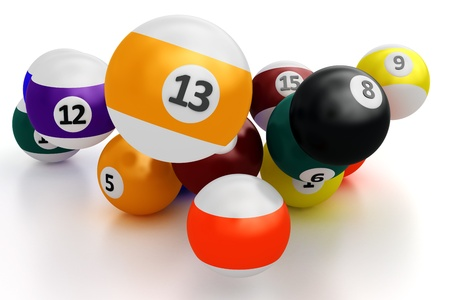 A group of colorful pool balls on a white background photo