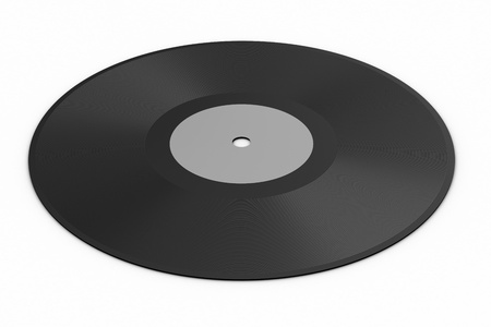 Black vinyl record lp album disc over white background photo