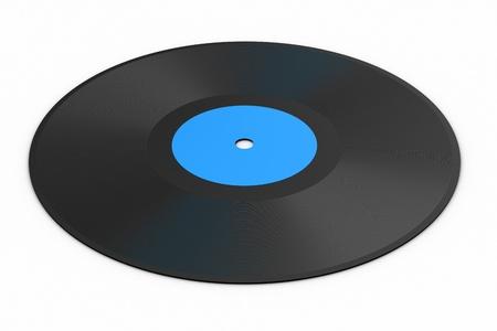 single songs: Black vinyl record lp album disc over white background