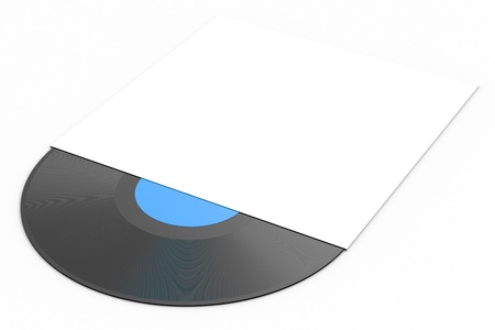 lp: Black vinyl record lp album disc over white background
