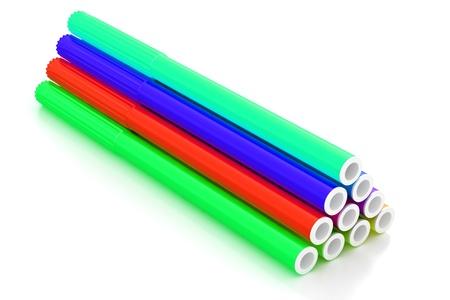fiber tipped: Group of bright color markers on white background Stock Photo