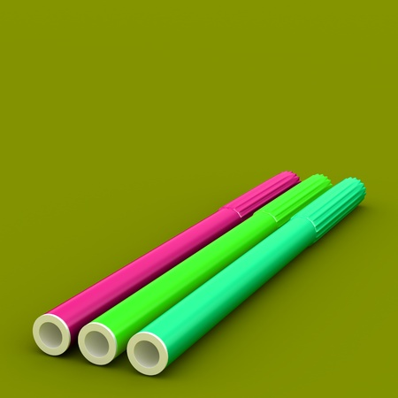 Group of bright color markers on color background photo