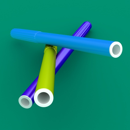 fiber tipped: Group of bright color markers on color background