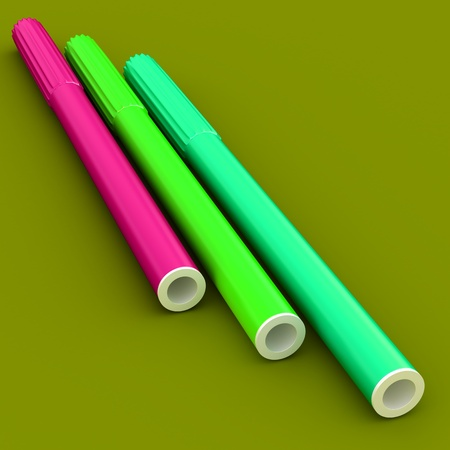 Group of bright color markers on color background