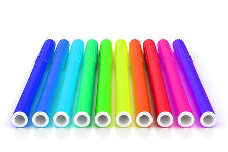 Group of bright color markers on white background Stock Photo
