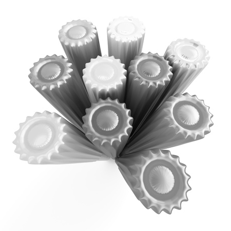 fiber tipped: Group of monochrome markers  3D Rendered illustration