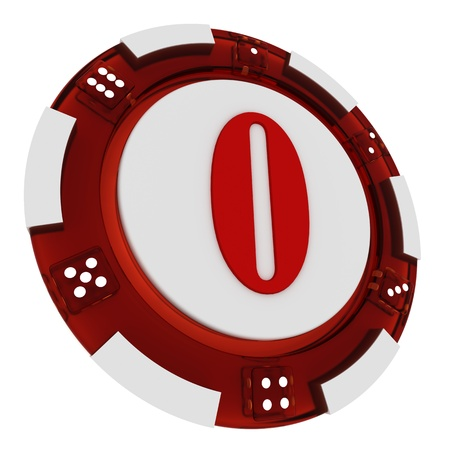 Poker chip font  3D Rendered Casino Style  Letter 0 over white background photo